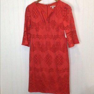 Dress Barn Coral Dress Lace Overlay Size 4 NWT